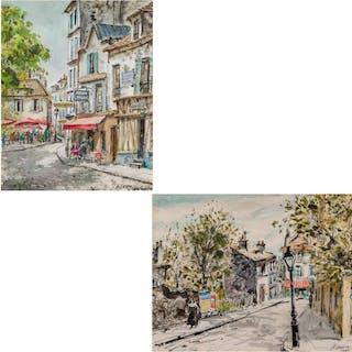 HENRY GASSER, American (1909-1981), Paris Scenes (A Pair), w