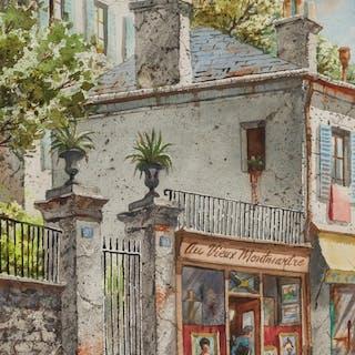 HENRY GASSER, American (1909-1981), Paris Street Scene, wate