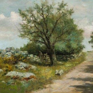BURR NICHOLLS, American (1848-1915), Landscape with Rock Wal