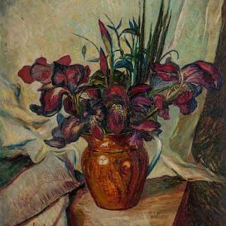 DAVID BURLIUK, American/Russian (1882-1967), Irises, oil on