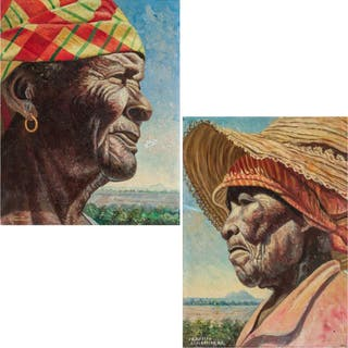CYNRIC GRIFFITH, St. Maarten (1919-2018), Two Portraits, oil