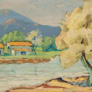GEORGE ALAN SWANSON, American (1908-1968), Texas Scene, oil