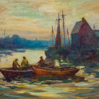 TOD LINDENMUTH, American (1885-1976), Fisherman in the Harbo