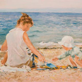 MARIE STOBBE, American (1909-2003), Playing on the Beach, oi