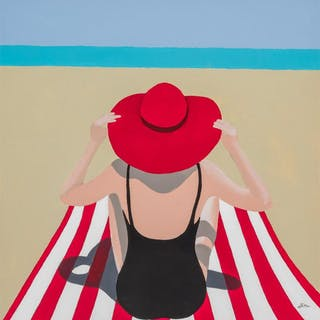 KEN MUSSELMAN, American (21st Century), Woman with Red Hat a