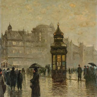 AMERICAN SCHOOL , 20th Century, Paris Street Scene, oil on c