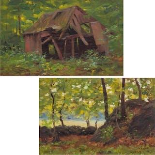 WILLIAM MERRITT POST, American (1856-1935), Shack Trees at t