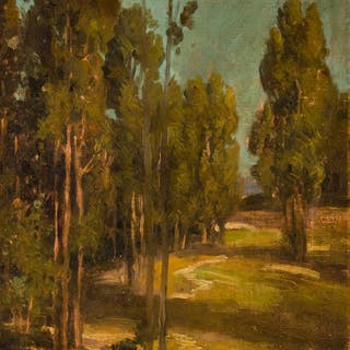EDGAR PAYNE, American (1883-1947), Landscape with Trees, oil