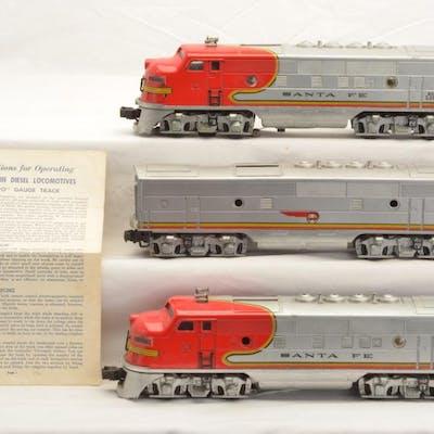 Lionel Postwar 2333/2343C/2333 Santa Fe F3 ABA Diesel Units