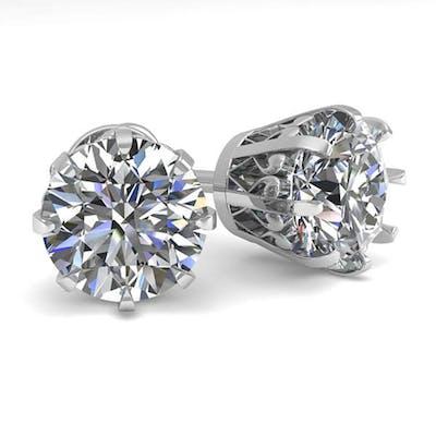 3 CTW VS/SI DIAMOND STUD SOLITAIRE EARRINGS 18K WHITE GOLD -