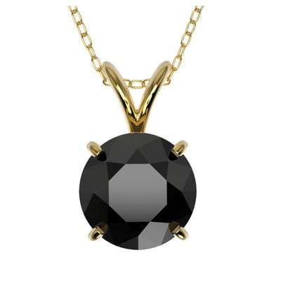 1.50 CTW FANCY BLACK DIAMOND SOLITAIRE NECKLACE 10K YELLOW G