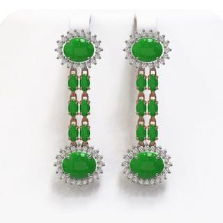 08d68f47a5099e 10.72 ctw Jade & Diamond Earrings 14K Rose Gold - REF-174F2N