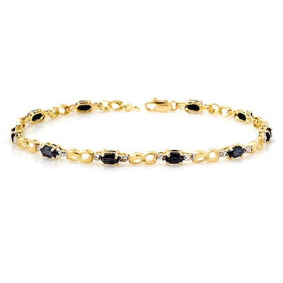 3.42 ctw Blue Sapphire & Diamond Bracelet 10K Yellow Gold -