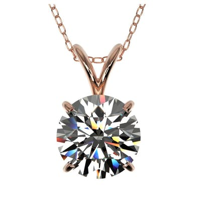 1.50 ctw H-SI/I Diamond Necklace 10K Rose Gold - REF-322K5W