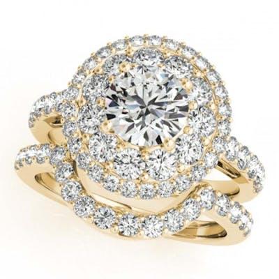 2.55 ctw VS/SI Diamond 2pc Wedding Set Halo 14K Yellow Gold