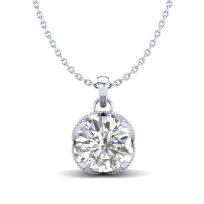 1.13 ctw VS/SI Diamond Solitaire Art Deco Stud Necklace 18K