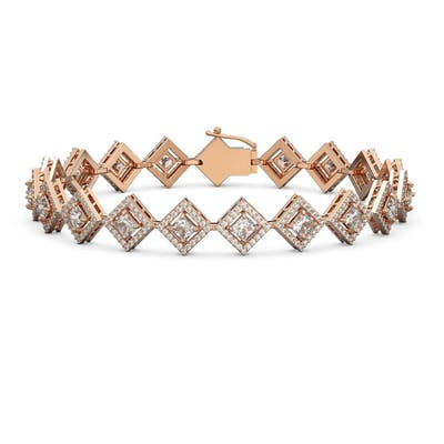 8.46 ctw Princess Diamond Bracelet 18K Rose Gold - REF-703M2