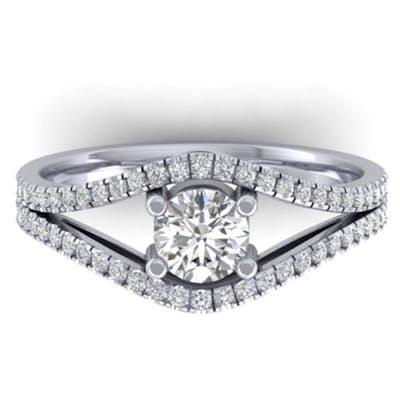 1.05 ctw VS/SI Diamond Art Deco Ring 14K White Gold - REF-12