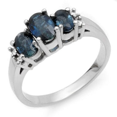 1.34 ctw Blue Sapphire & Diamond Ring 18K White Gold - REF-5