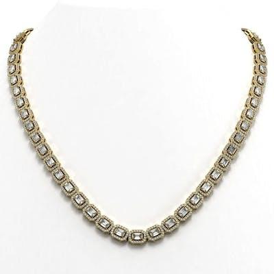 24.86 ctw Emerald Diamond Necklace 18K Yellow Gold - REF-291