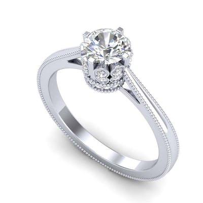 0.81 ctw VS/SI Diamond Art Deco Ring 18K White Gold - REF-14