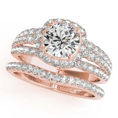 2.44 ctw VS/SI Diamond 2pc Wedding Set Halo 14K Rose Gold -
