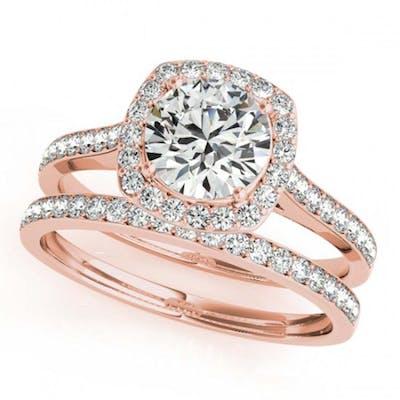 1.12 ctw VS/SI Diamond 2pc Wedding Set Halo 14K Rose Gold -