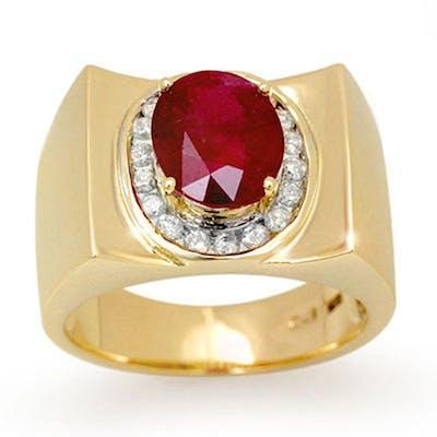 3.33 ctw Ruby & Diamond Men's Ring 10K Yellow Gold - REF-58M