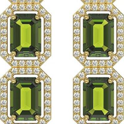 12.41 ctw Tourmaline & Diamond Halo Earrings 10K Yellow Gold