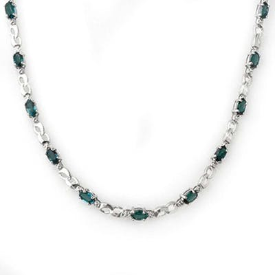 9.02 ctw Blue Sapphire & Diamond Necklace 18K White Gold - R