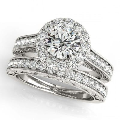 2.63 ctw VS/SI Diamond 2pc Wedding Set Halo 14K White Gold -