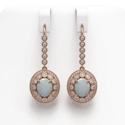 7.81 ctw Opal & Diamond Earrings 14K Rose Gold - REF-256K7W