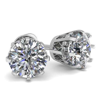 1.0 ctw VS/SI Diamond Stud Earrings 18K White Gold - REF-147