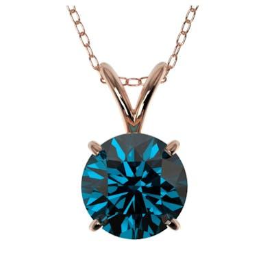 1.29 ctw Intense Blue Diamond Necklace 10K Rose Gold - REF-2