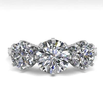 2 ctw Past Present Future VS/SI Diamond Ring 18K White Gold