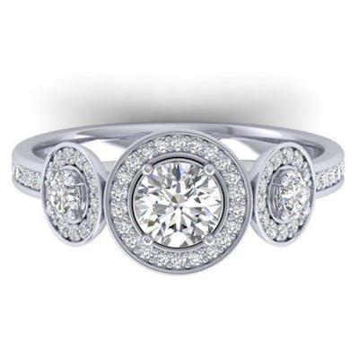1.25 ctw VS/SI Diamond Art Deco 3 Stone Ring 14K White Gold