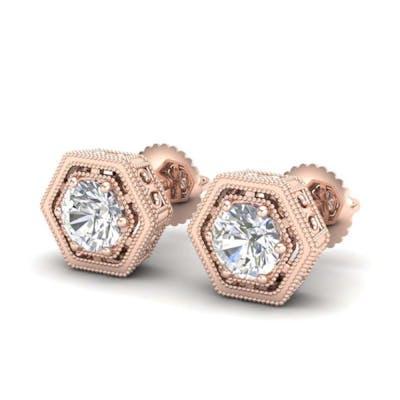 1.07 ctw VS/SI Diamond Solitaire Art Deco Stud Earrings 18K