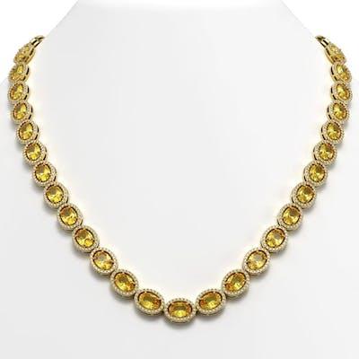46.39 ctw Fancy Citrine & Diamond Halo Necklace 10K Yellow G