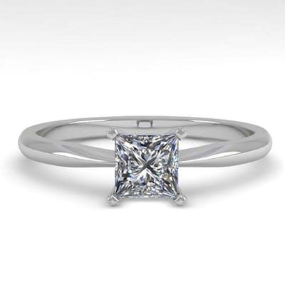 0.50 ctw VS/SI Princess Cut Diamond Ring 18K White Gold - RE