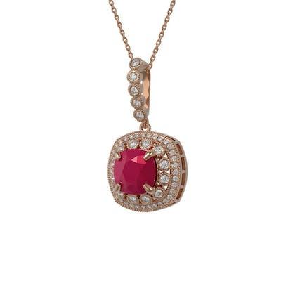 6.58 ctw Ruby & Diamond Necklace 14K Rose Gold - REF-145M3F