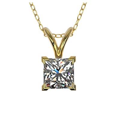 0.50 ctw VS/SI Princess Diamond Necklace 10K Yellow Gold - R