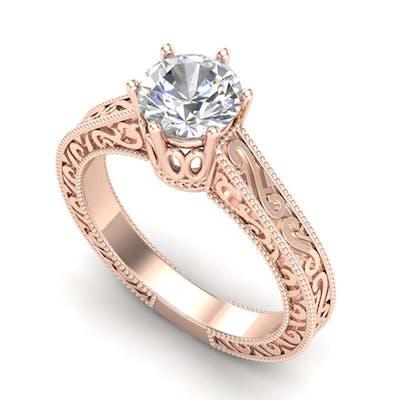 1 ctw VS/SI Diamond Solitaire Art Deco Ring 18K Rose Gold -