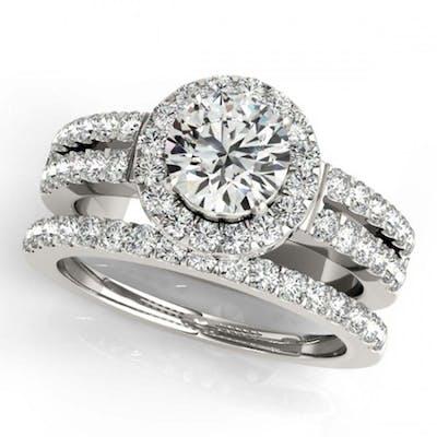 1.83 ctw VS/SI Diamond 2pc Wedding Set Halo 14K White Gold -