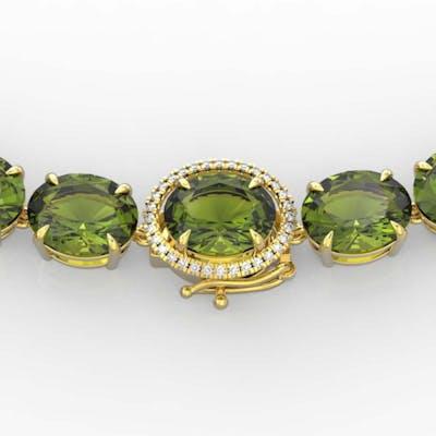 145 ctw Green Tourmaline & VS/SI Diamond Necklace 14K Yellow
