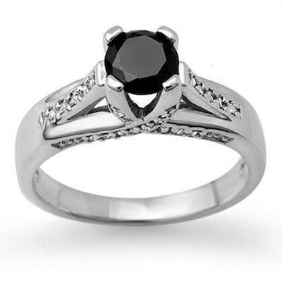 1.18 ctw VS Black & White Diamond Ring 14K White Gold - REF-