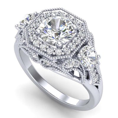 2.11 ctw VS/SI Diamond Solitaire Art Deco 3 Stone Ring 18K W