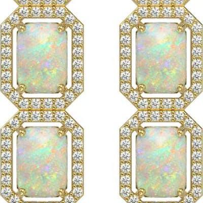 7.93 ctw Opal & Diamond Halo Earrings Yellow 10K Yellow Gold