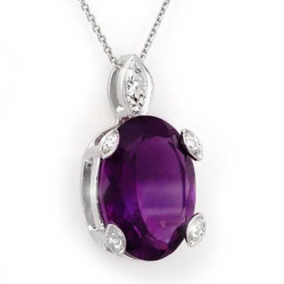 10.10 ctw Amethyst & Diamond Necklace 14K White Gold - REF-3