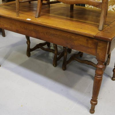 Antique French 19th Century farm house table with single lon