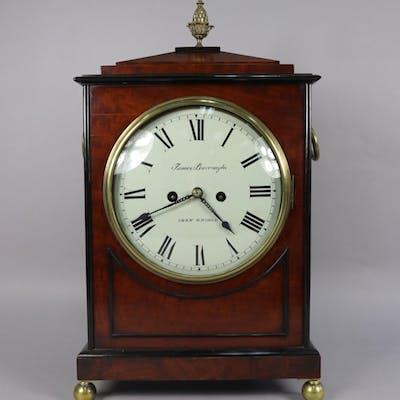 Antique late Regency mahogany bracket clock, slightly convex
